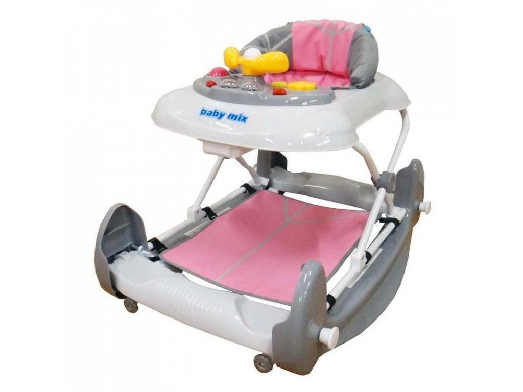 2802 detske choditko s houpackou a silikonovymi kolecky baby mix pink
