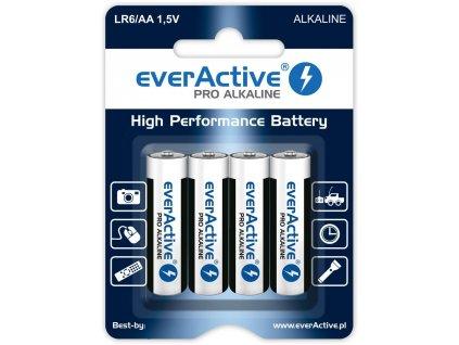 4602 baterie everactive aa lr6 mignon pro alkaline 4ks blister