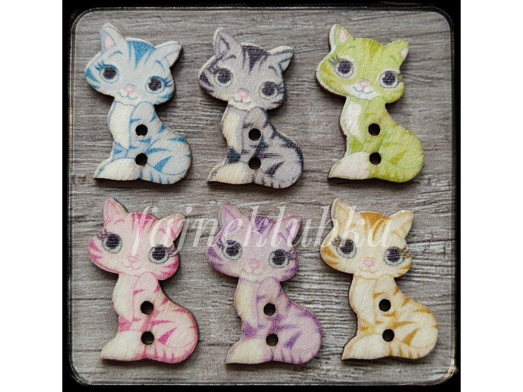 Knoflík Kočka barevný