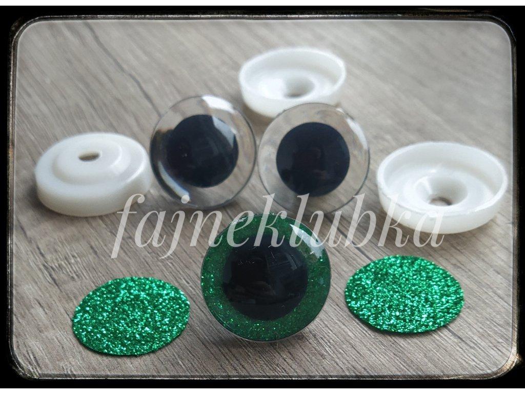 Bezpečnostní oči glitrové zelené