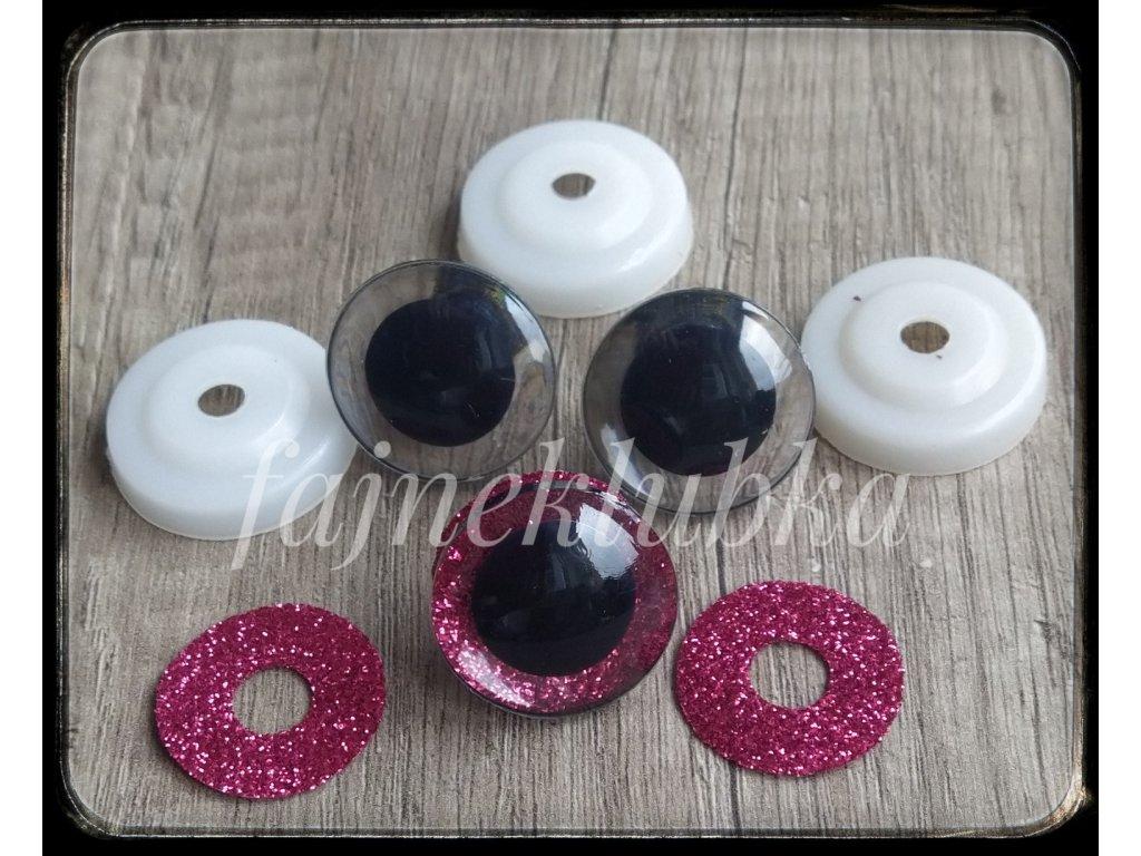 Bezpečnostní oči glitrové růžové