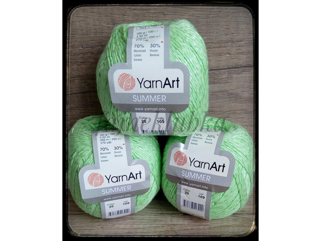 příze Summer 20 Světle zelená YarnArt