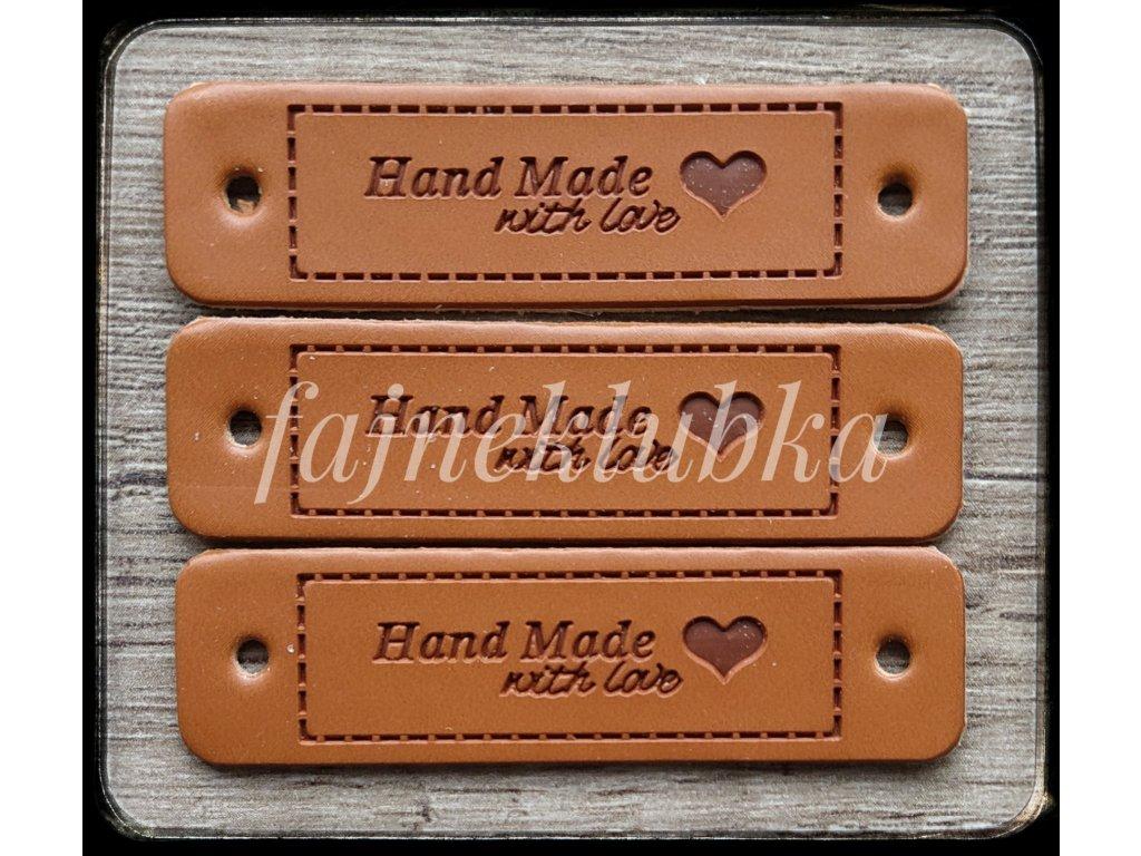 Kožený obdélníkový štítek Handmade