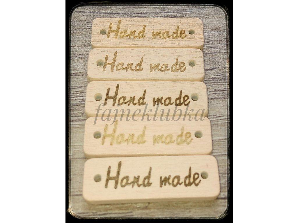 Dřevěný obdélníkový štítek Handmade