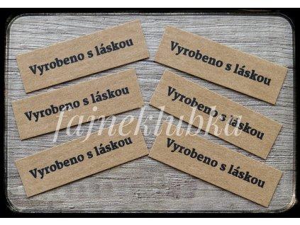 Papírový štítek  Vyrobeno s láskou hnědý