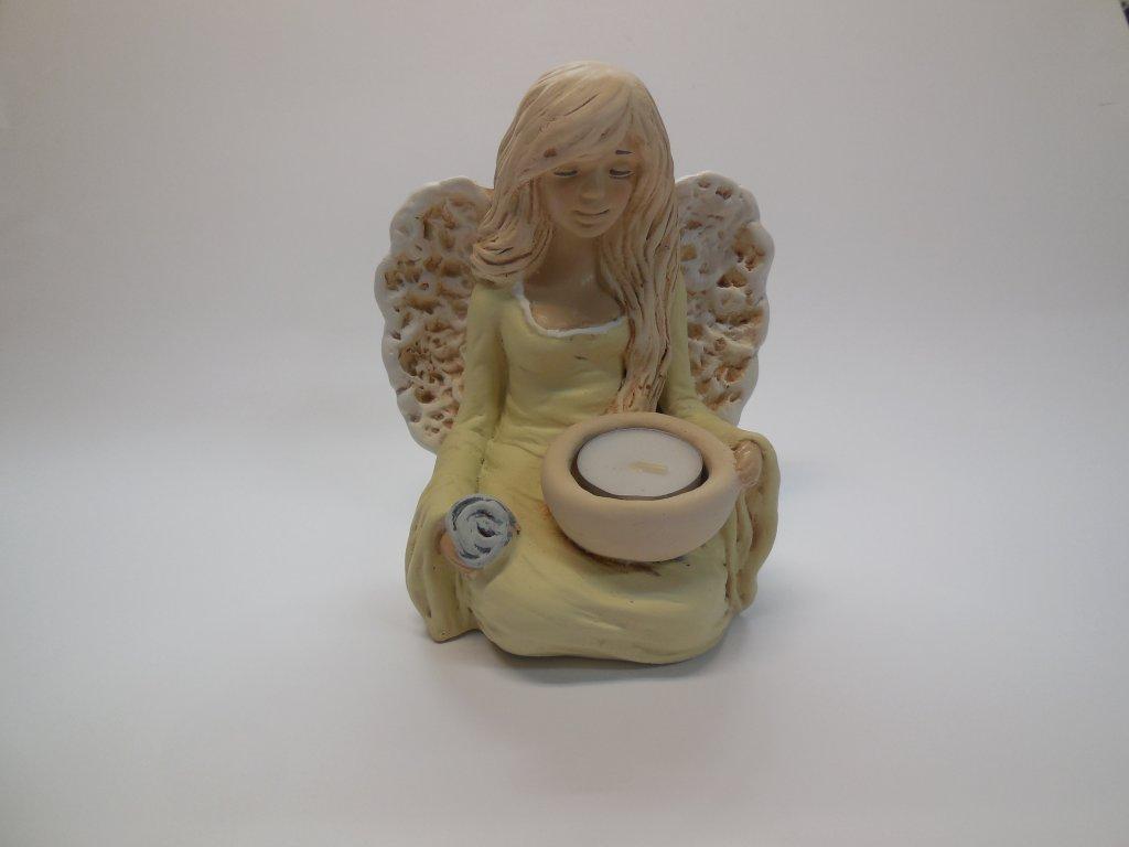 Anděl svícen sedící (Barva Šedomodrá)