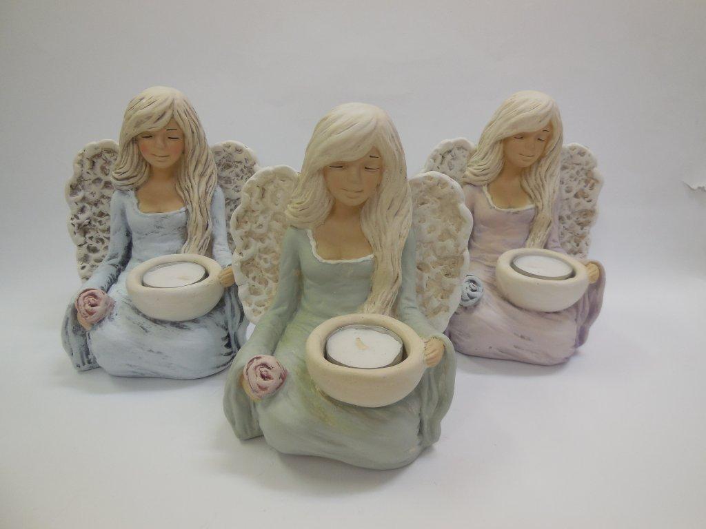 Keramický Anděl svícen sedící