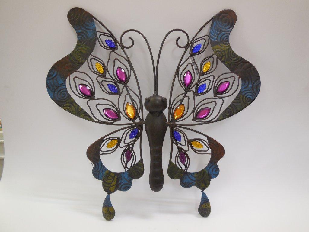Kovový motýl barevný malý