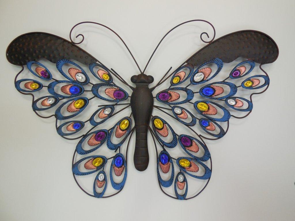 Kovová dekorace motýl barevný velký