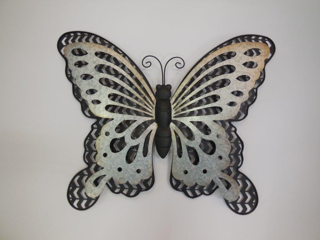Dekorace z kovu motýl černý