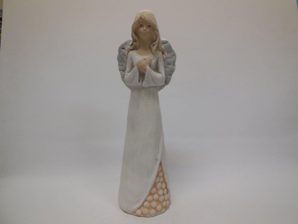 Keramický anděl s krajkou