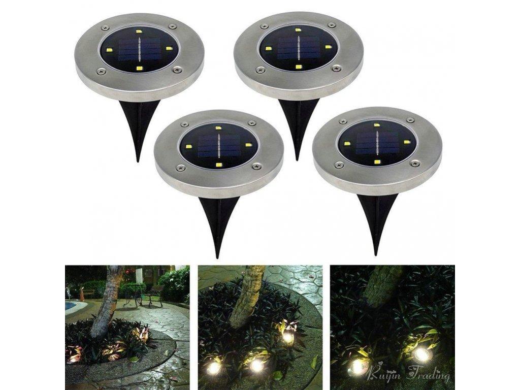 mainimage0Solar Powered LED Disk Lights Set Of 4 Waterproof Outdoor Garden Stair TV Lights Creative Landscape