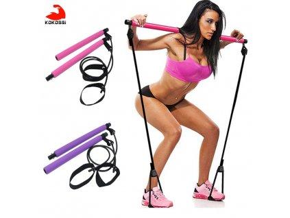 mainimage0New Fitness Sport Pilates Bar Kit Gym Workout Stick Pilates Exercise Bar Kit with Resistance Band