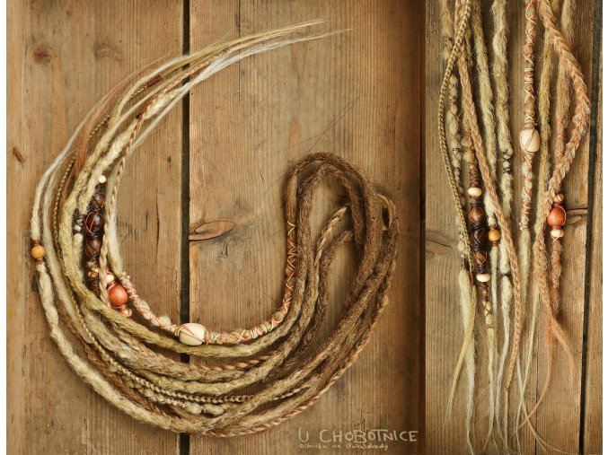 natural looking synthetic dreads wood wooden beads boho wraps