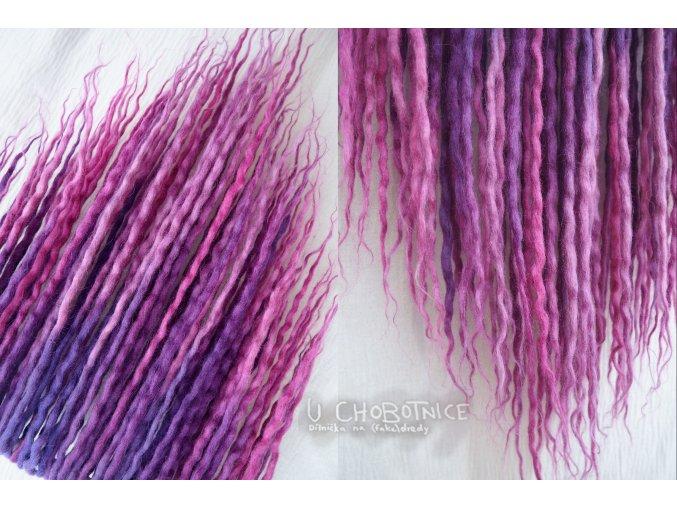 Fialovo-růžové dredy z vlny - BOHO