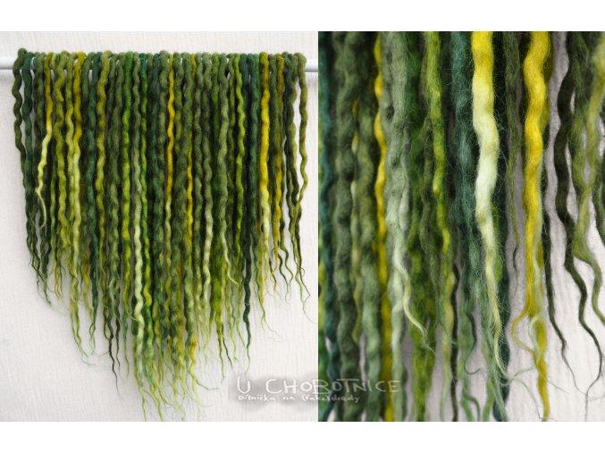 Zelené dready z vlny - BOHO