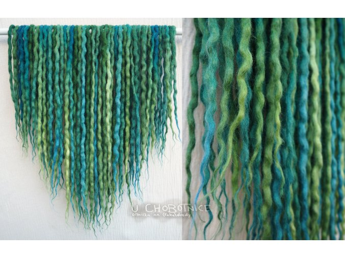Tyrkysovo-zelené dready z vlny - BOHO