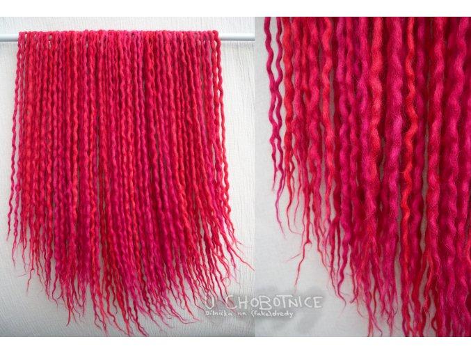 Červeno-růžové dready z vlny - BOHO