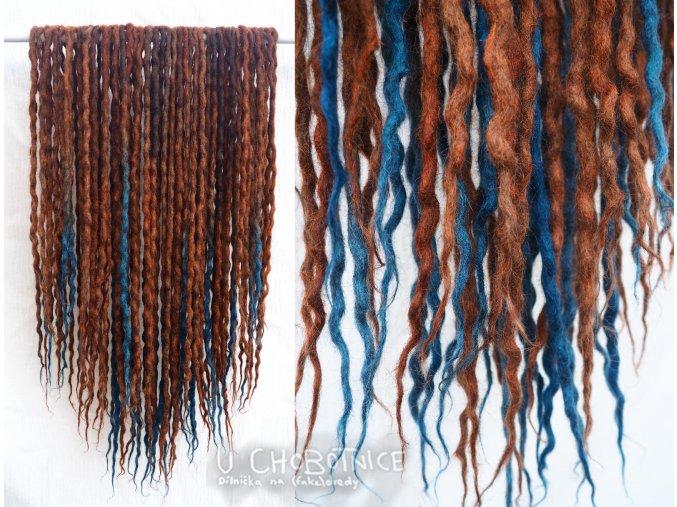 Skořicovo- modré dredy z vlny - BOHO