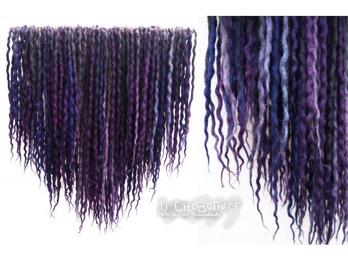 Černo-fialové dredy z vlny - BOHO