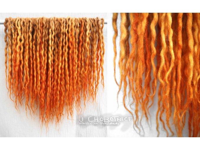Zrzavo-oranžové ombré dready z vlny - BOHO
