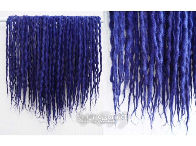 Temně modré dredy z vlny - BOHO