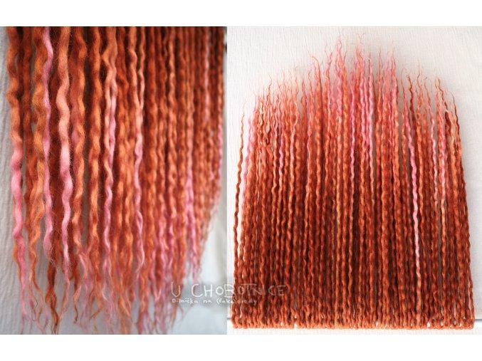 Rezavo-růžové dready z vlny - BOHO