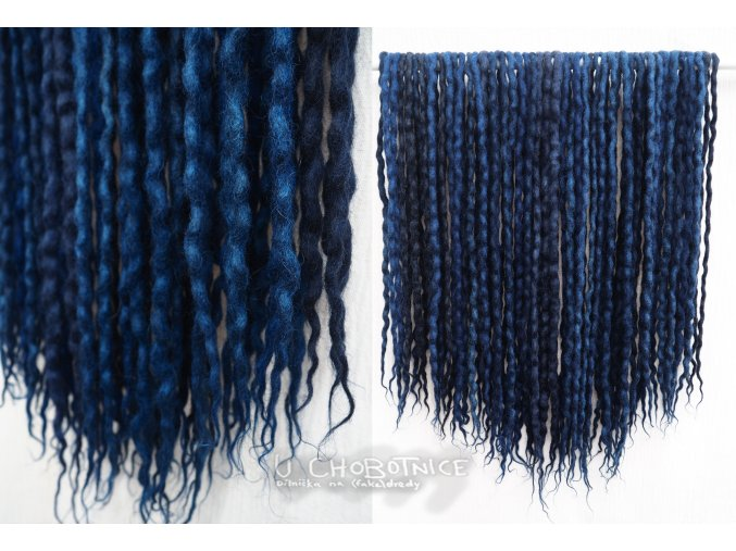 Ponuře modré dredy z vlny - BOHO
