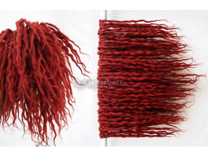 Krátké červené dredy z vlny - BOHO