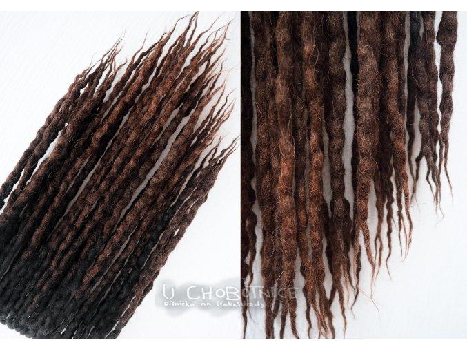 Černo-hnědé fake dredy z vlny - NATURAL