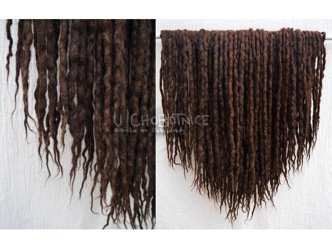 Tmavě hnědé fake dredy z vlny - NATURAL