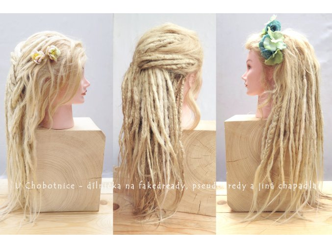 blond fake synthetic dreads dredy pseudo kanekalon flowers