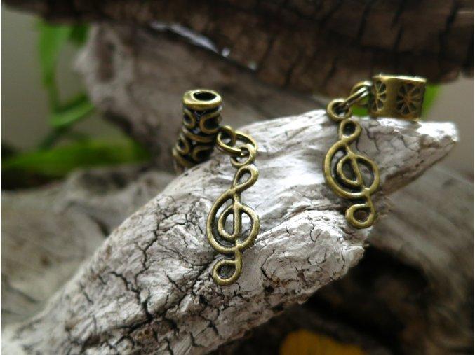 Korálek do dredů houslový klíč - zlatá