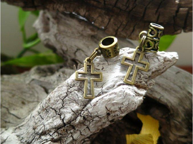 Korálek do dredů kříž - zlatá