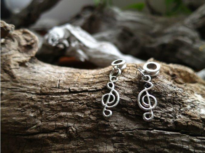 Korálek do dredů houslový klíč - stříbrná