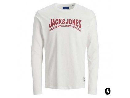 Pánské triko s dlouhým rukávem Jack & Jones 12181902 BL Bílá (Velikost S)