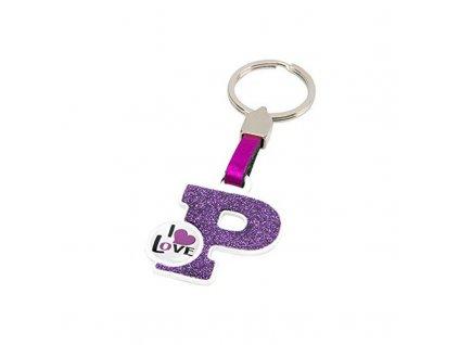 Přívěsek na klíče Písmeno P (Barva Ružová)