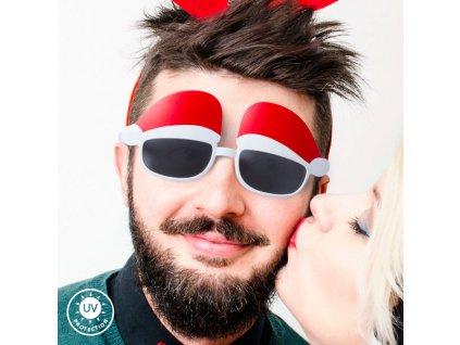 Brýle s čepicí Santa Clause 144802 (Barva Bílá)