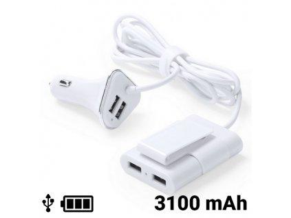 USB nabíječka do auta se 4 porty 3100 mAh 145209 (Barva Bílá)