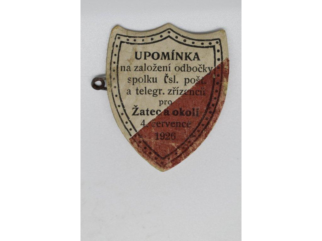 Upomínka na založení odbočky spolu poštovních a telegrafních zřízenců pro Žatec a okolí 1926