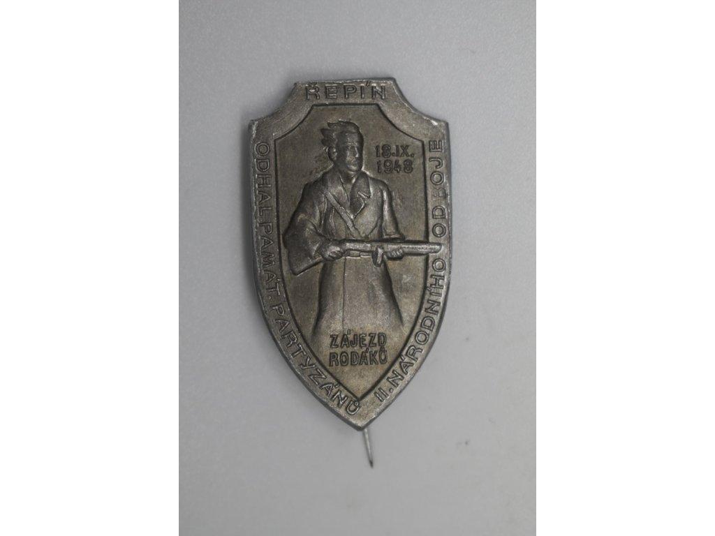 Odhalení pamětní desky partyzánů II. národního odboje, Řepín 1948
