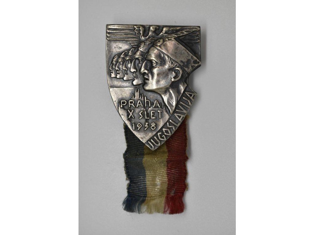 Odznak pro účastníky X. všesokolského sletu z Jugoslavie 1938