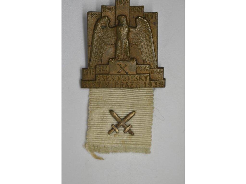 Odznak X. všesokolského sletu pro vojáky 1938
