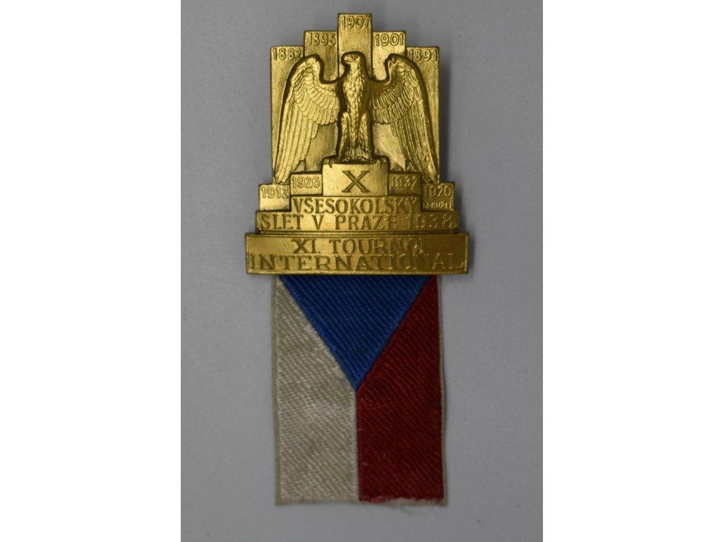 Odznak pro zahraniční hosty X. Všesokolského sletu 1938