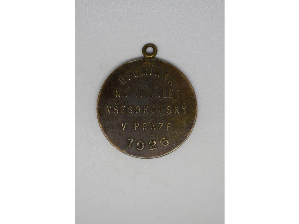 Upomínka na VIII. slet všesokolský v Praze 1926