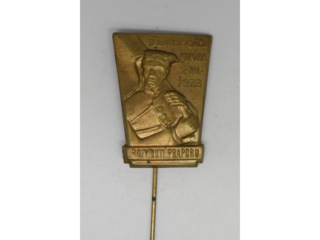 Rozvinutí praporu tělocvičné jednoty Sokol Kunžak 1933
