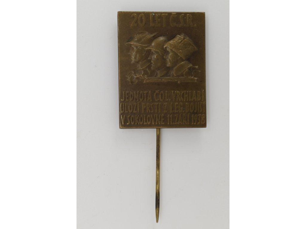 Jednota Československé obce legionářské Vrchlabí uloží prsti z legionářských bojišť v sokolovně 1938