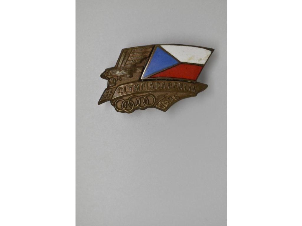 Odznak pro sokolské účastníky XI. olympiády v Berlíně 1936