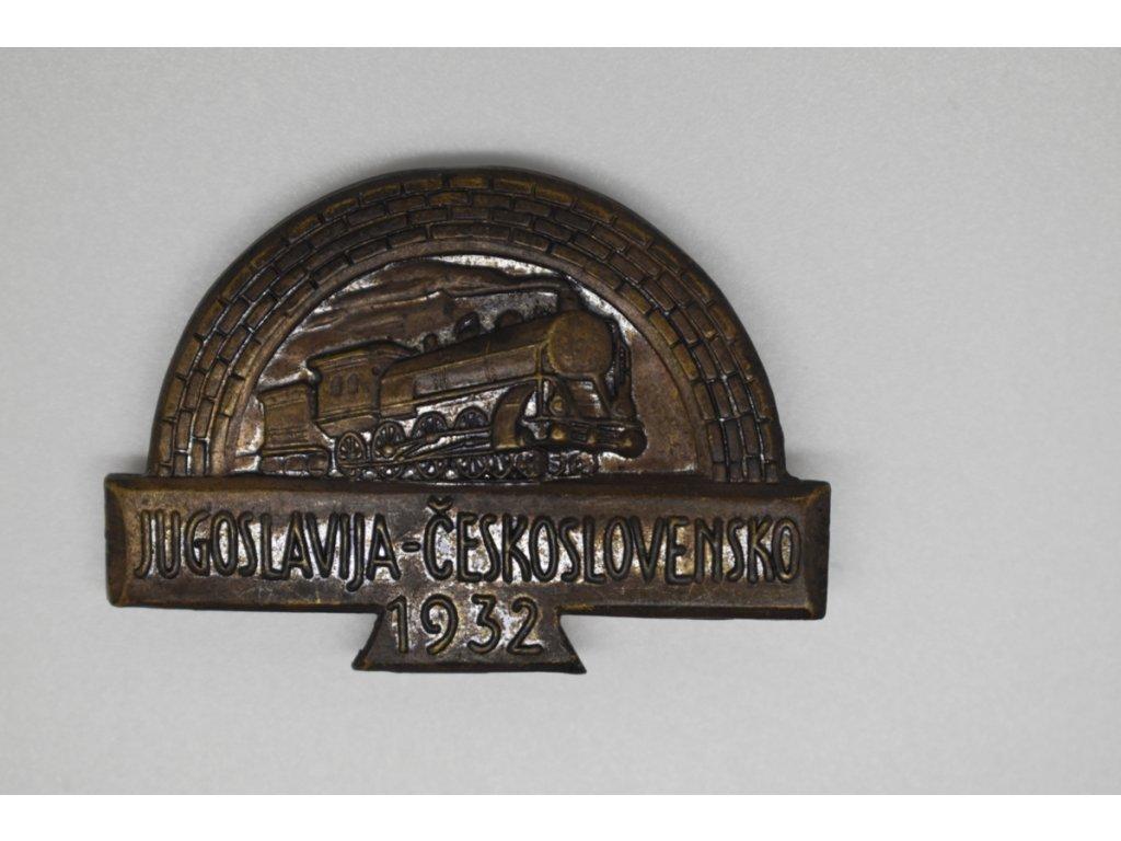 Odznak na zájezd jugoslávských cvičenců na IX. všesokolský slet 1932