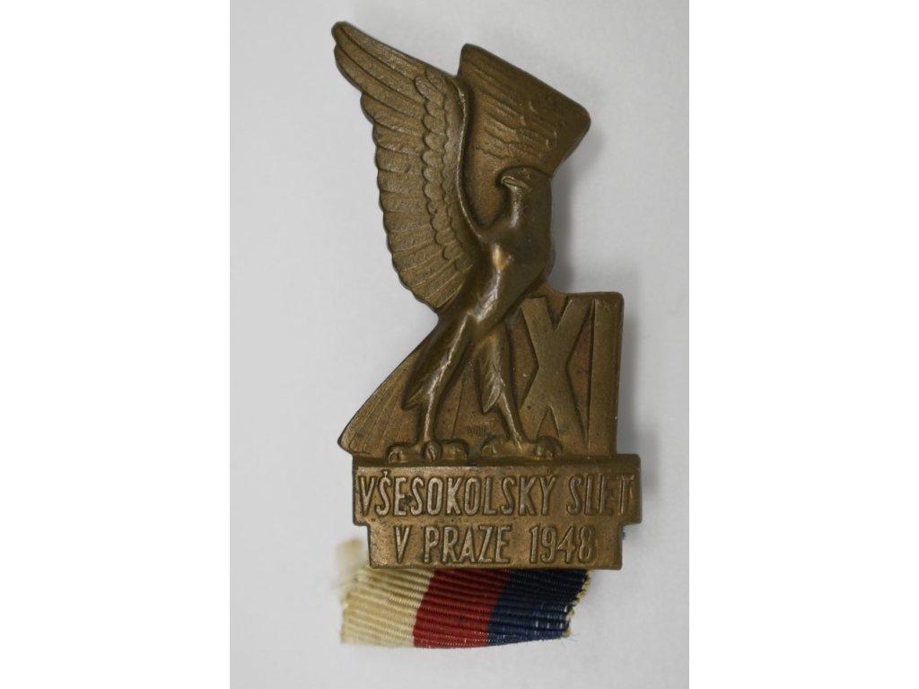 Účastnický odznak XI. Všesokolského sletu pro dospělé 1948